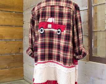 Flannel Shirt - Tunic  - Boho Clothing - Upcycled - Womens Lg. A- Line Style - Jacket , Red Black Plaid Vintage Red Truck Gone Junkin