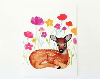 Woodland Kitsch Deer, Fawn, Bambi Greeting Card, Birthday Card