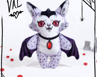 Val the Vampire Cat- Illustrated cat doll - Soft Minky plush stuffed animal