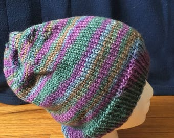 Purple and Green Stripey Hat
