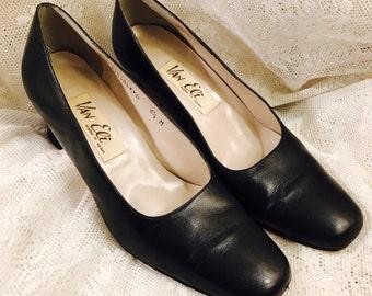 Vintage Van Eli Leather Heels - Black - Made In Spain - Size 6 1/2 Medium