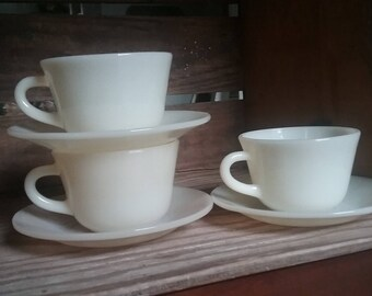 Fire King Ivory Milk glass cup and saucers