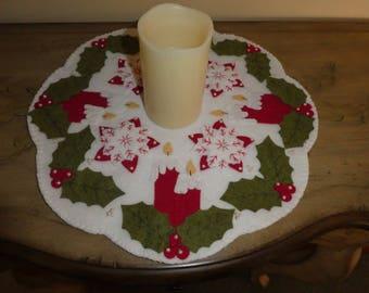 Candle mat, wool blend felt, Christmas decoration, winter decoration, tabletop decor, housewarming, candles, snowflakes, flowers, office