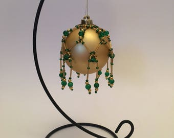 Christmas Tree Decoration / Hand Beaded Green and Gold Christmas Ornament Cover