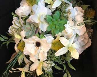 White cascade Bouquet with Succulents