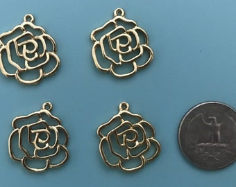 Gold Rose Charms Set of 4