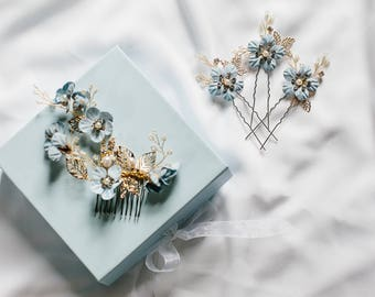 Something blue hair accessory, bridal hair pins, flower hair pins, wedding hair accessory – Josephine hair pins (set of 3)