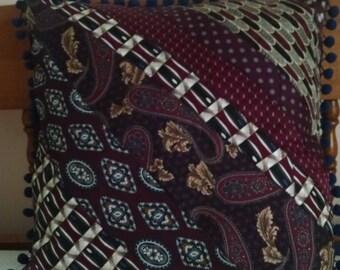 Handmade Necktie Pillow with Pom-Pom Trim