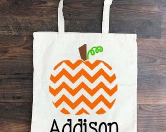 SALE - Halloween - Trick or Treat Bag - Custom Halloween Bag - Pattern Pumpkin - Custom Halloween Tote - Candy Bag - Customized Kids Bag