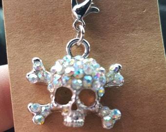 Skull and Crossbones Rhinestone Bracelet
