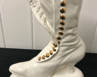 Vintage Victorian Boot, Atlantic Mold, White Ceramic Vase, Victorian Boot Vase, Gold Buttons