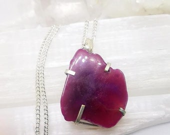 Agate Necklace Agate Crystal Agate Pendant Silver Plated Pendant Agate Crystal Necklace Pink Agate