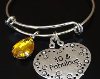 30 and Fabulous Bracelet, 30 and Fabulous Bangle, 30th Birthday for Her, 30th Birthday Gift, 30th Birthday Gift for Her, 30 Birthday for Her