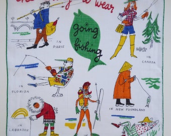 """Hankie """"the thing to wear going fishing"""" Fifties 50s Vintage"""