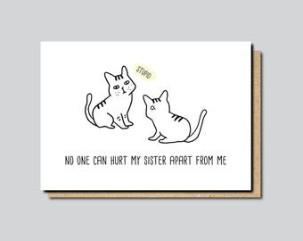 Funny sister card, funny card for sister, funny card for brother, brother birthday card, funny sister birthday card, sister cat card