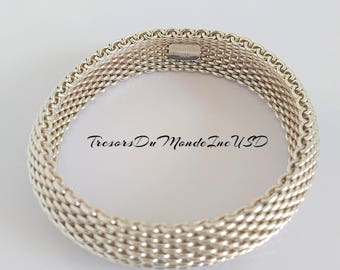 Silver Mesh Bracelet/Tiffany & Co. 925/Made of Silver 925/Silver Bracelet/Silver Bangle Bracelet/Mothers' day Gift/Anniversary/Collection