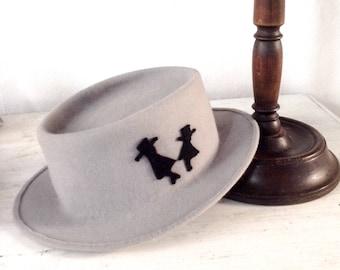 Grey felt hat Designer headpiece stylish girl. Birthday gift fashion woman. Pork pie  Canotier hat. Funcy hat church bonnets. Dressy hat