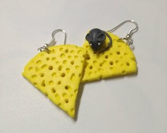 Cheese and mice earrings