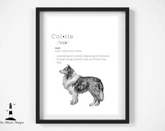 Collie Definition Print, Collie Wall Art, Collie Breed Print, Collie Decor, Printable Wall Art, Herding Wall Art, Collie, Collie Printable