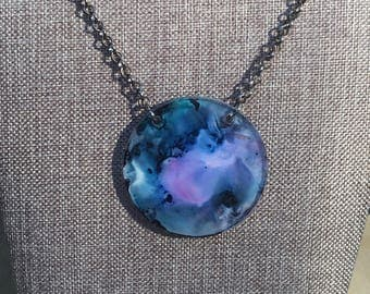 Alcohol Ink Acrylic Disc Necklace