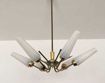 Beautiful and elegant mid-century chandelier | Brass | Etched Glass Lampshades | 1950 's |