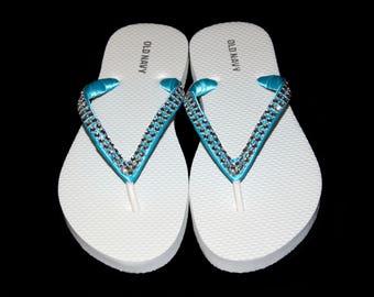 Rhinestone Bridal Flip Flops, Beach Wedding, Bridal Flip Flops, Bridesmaid, Wedding Flip Flops, Custom Color Flip Flops, Bridal Shoes,