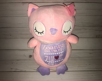Birth Stat Owl- Birth Stat Stuffed animal- New baby gift- Christening gift-1st Birthday Gift