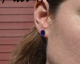 Handmade tumbled recycled glass earrings in cobalt blue