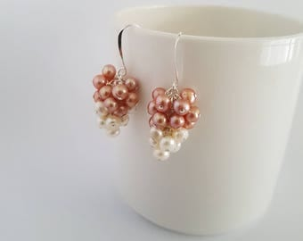 Pink and white freshwater pearl cluster, wire wrapped, sterling silver earrings.