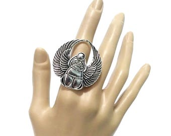 ring egyptian scarab god khepri silver adjustable one size winged beetle insect animal ancient egypt pagan occult esoteric wicca gothic boho
