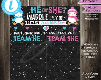 Penguin Gender Reveal Sign Cast your Vote Board - Waddle Baby Be - Party Baby Shower He or She Chalkboard Personalized INSTANT Self-EDITABLE