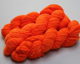 Hand Dyed 'Fluoro Orange' 4 ply Australian Sock Yarn 100 grams
