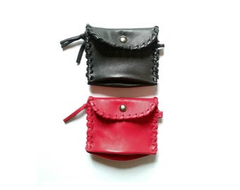 Black or raspberry pink leather wallet