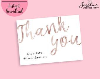 Thank you Card, Flat Thank You Card, Wedding Thank You Cards, Rose Gold Thank You Card, Floral Thank You Note, Foil Script cards, Digital