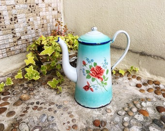 JAPY Enamel Coffee Pot - Original French Vintage - French Enamelware