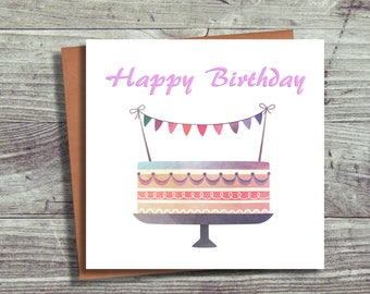 Birthday Card, Blank Greeting Card, For Her, Friend, Free UK Shipping