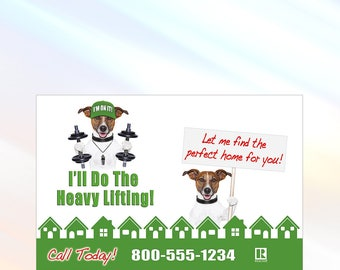 Beagle Lifting Weights - Real Estate Postcard - 6x9 - Real Estate Marketing Postcard - Color Front Only - Customization Available