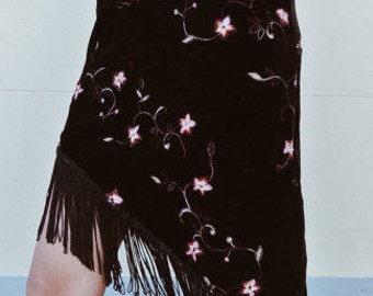Velvet Embroidered Flower Floral Tassel Angled Hem Skirt. 90s Grunge Fitted Body Con Black Pink High Waisted Skirt