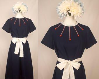 Vintage 1970s Blue Knit Shift Dress - Amy Adams Knits - Size XL