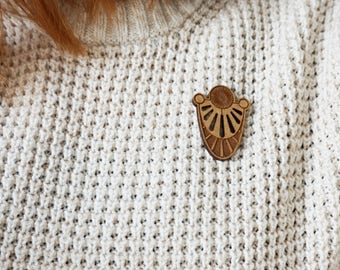 Pins Radian - Badges wood - badges - pin - jewelry - woman accessory