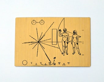 NASA Pioneer Plaque, laser engraved magnet.