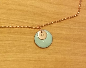 necklace, enameled pendant, robin's egg blue, copper, stamped heart