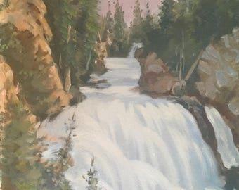 Mountian Waterfalls Vintage Original Landscape Painting