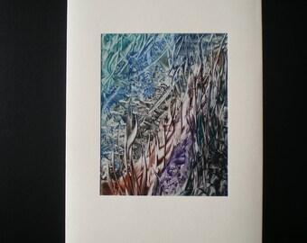 Underwater rock pool, Original encaustic wax art greetings card
