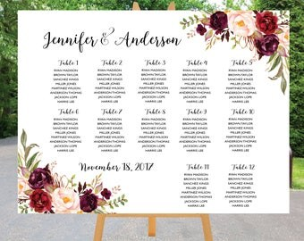 PRINTABLE Wedding Seating Chart Template, Boho Wedding Table seating assignment, Decor, Editable Text, Instant Download. Edit PDF Download.