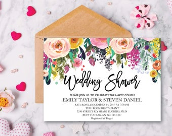 Wedding Shower Invitation, Fall Floral Bridal Shower Card, Couples Shower Invite, Fun wedding program, Instant Download, Decor, Signs, WS 14