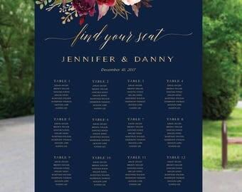 Navy seating chart, Wedding seating chart template, Wedding Seating Chart, Wedding seating poster, Seating chart, Alphabet chart. #110-Navy
