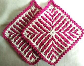 Pot cloth, crochet, handmade 1 pair of pink-white 1 pair of colored stripes 19 x 19 cm