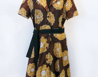 Handmade Palm Bay - 50's style -T-shirt dress- 100% cotton Dress- House dress-vintage dress- Designer dress- Retro Dress- 50's dress-