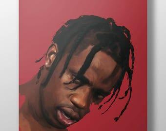 TRAVIS SCOTT art poster, modern art, hip hop art, rapper art, pop art, singer art, square poster, wall art, pop art, trendy art